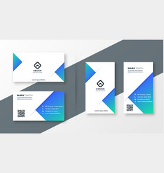 Modern blue triangle business card design vector