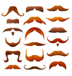 mustache icons gentlemen and hipster ginger red vector image