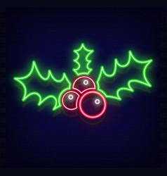 neon mistletoe vector image