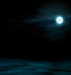 night sky with moon lunar landscape vector image