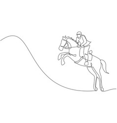 one continuous line drawing young horse rider man vector image