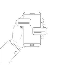 outline drawing mobile phone chat message vector image