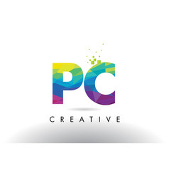 Pc p c colorful letter origami triangles design vector