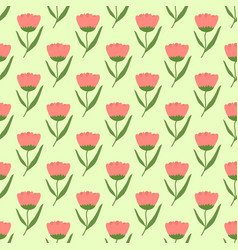 Peach tulip flowers with a light green base spring vector