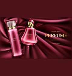 perfume deodorant bottles on velvet or silk fabric vector image