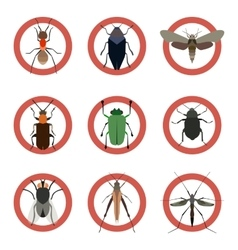 Pest insects control icons Collection danger ants vector