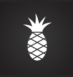 pineapple on black background vector image