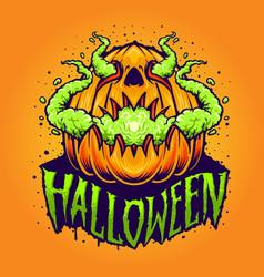 pumpkin smoke halloween vector image