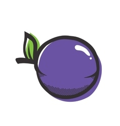 Purple plum isolated popart vector
