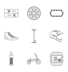 Race bike icons set outline style vector