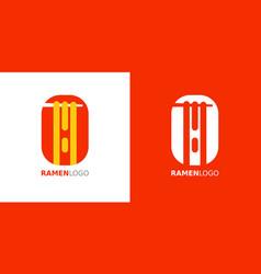 Ramen noodle and chopstick logo design vector