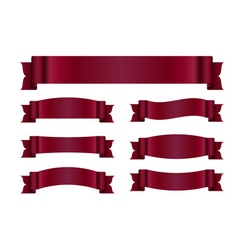Red ribbon banners set silk vector image
