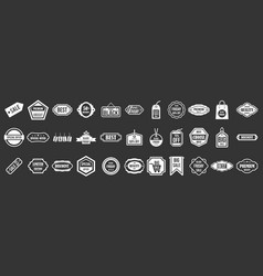 sale badge icon set grey vector image