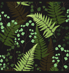 Seamless floral pattern with fern leaves vector