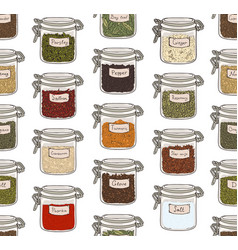 seamless pattern with various ground spices or vector image