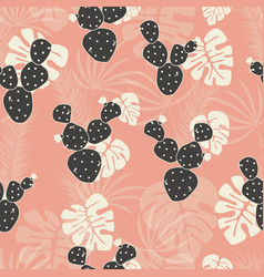 Seamless tropical pattern with monstera vector