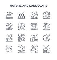 Set 16 nature and landscape concept line icons vector