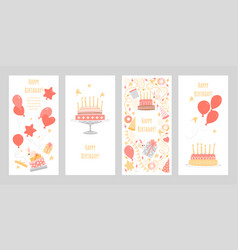 set birthday greeting cards vector image