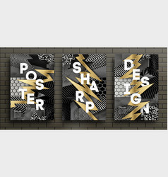 set black and gold luxury design posters vector image
