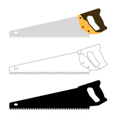 set hand saw flat style vector image