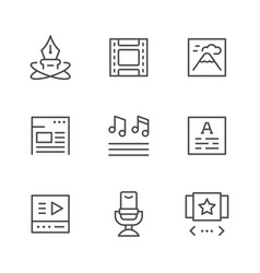 Set line icons of web content vector