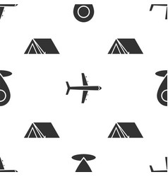 Set map pin plane and tourist tent on seamless vector
