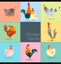 Set of chicken family vector
