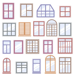 Set of colorful window icons vector