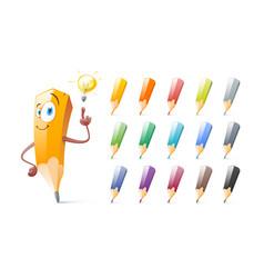 set of cute pencils cartoon education school vector image