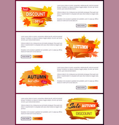 Set of leaflets with foliage autumn big sale 2017 vector