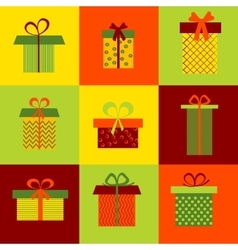 Set of nine different gift boxes on colorful vector