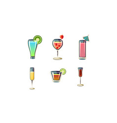 set of refreshing summer cocktails in glasses vector image