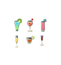 set refreshing summer cocktails in glasses vector image