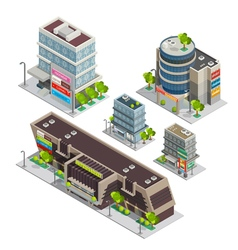 Shopping center buildings complex isometric vector