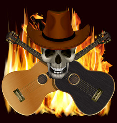 skull in a cowboy hat with crossed guitars vector image