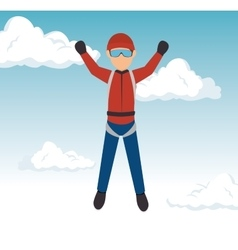 sky diver guy extreme sport vector image