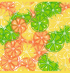 Sliced lemons limes and orange on seamless pattern vector