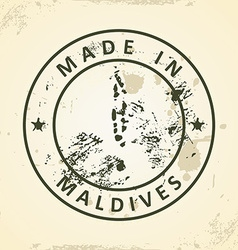 Stamp with map of Maldives vector image
