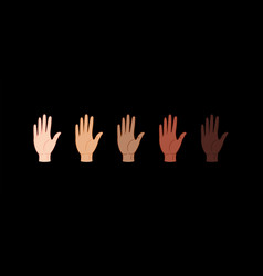 stop racism hands with different skin colors vector image