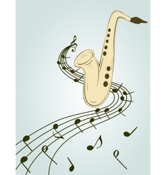 Stylish of saxophone vector image