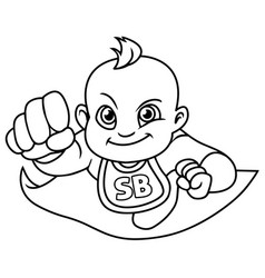 super baby flying line art vector image