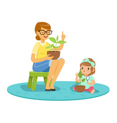 Sweet little girl learning about plants with vector