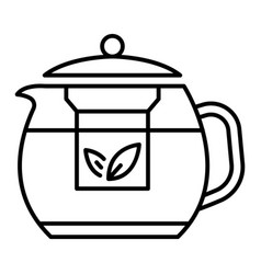 transparent teapot icon outline style vector image