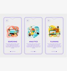 Trendy analytics and planning ui mobile app splash vector