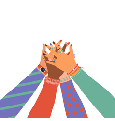 trendy with hands diverse group people vector image