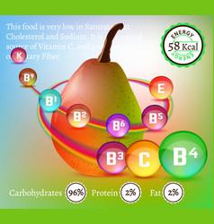 Vitamins in pear vector