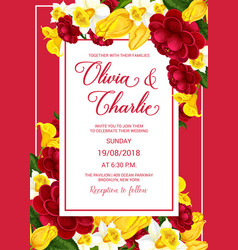 Wedding celebration invitation with spring flower vector