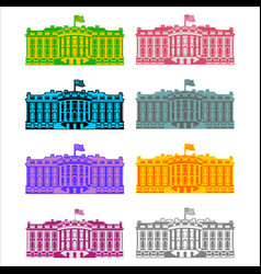 White house america colored icon set residence of vector