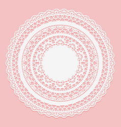 white lace napkin on a pink background openwork vector image