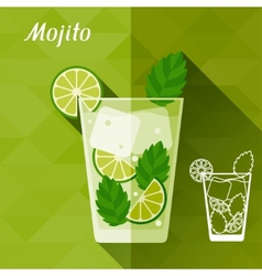 with glass of mojito in flat design style vector image